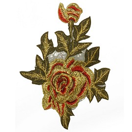 Embroidered Rose Floral Iron-On Applique Patch by PC, TR-11292