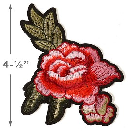 Embroidered Red Floral Iron-On Applique Patch by PC, TR-11293