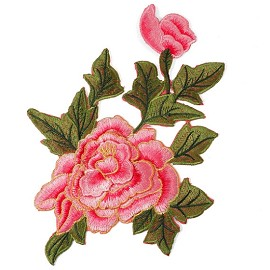 Embroidered Rose Floral Iron-On Applique Patch by PC, TR-11298