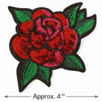 Sequins Red Rose Floral Iron-On Applique by PC, TR-11311