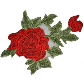 Embroidered Red Floral Iron-On Applique Patch by 1 pc, TR-11357