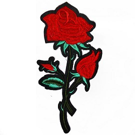"7"" Embroidered Rose Floral Iron-On Applique Patch by  pc, TR-11385"