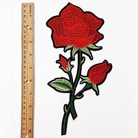 "10-1/4"" Embroidered Rose Floral Iron-On Applique Patch by pc, TR-11386B"