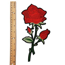 "9-1/4"" Embroidered Rose Floral Iron-On Applique Patch by pc, TR-11386B"