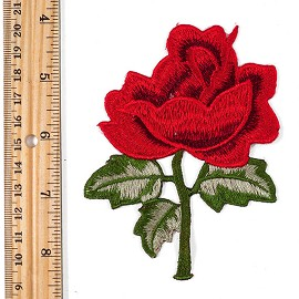 Embroidered Rose Floral Iron-On Applique Patch by PC, TR-11391