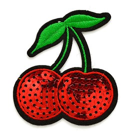 Sequins Red Cherry Patch Iron-On Applique, Sequin Patch by pc, TR-11479