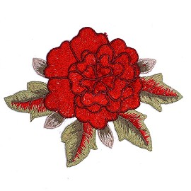 "4-1/2"" Embroidered Rose Floral Iron-On Applique Patch by pc, TR-11525"