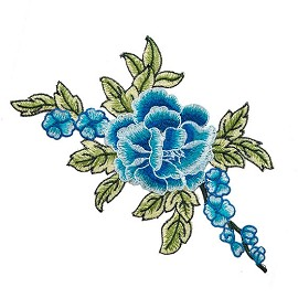 Rose Floral Embroidery Iron-On Applique Patch by PC, TR-11529