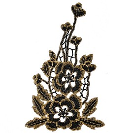 Metallic Flower Embroidery Iron-On Applique Patch by PC, TR-11556