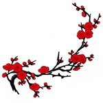 Flower Branches Embroidered Iron-On Patch, Embroidery Applique by pc, TR-11630