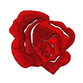 Embroidered Rose Floral Iron-On Applique Patch by PC, TR-11634