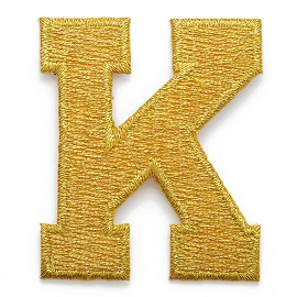 "2"" GOLD Alphabet Letter Iron-on Patch Applique by PC, LETTER-GOLD2"