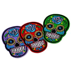 Skull Candy Embroidered Iron-On Applique Patch by PC, TR-11472