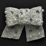 Bow Rinestone Pearl Beaded Applique Patch by PC, ALL-AT-629