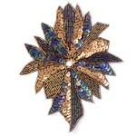 Rhinestones Sequin Beaded Applique Patch by PC, FF-1638