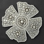 Rhinestones, Pearls & Beaded Applique Patch by PC, FF-FF39