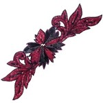 Flower w/Leaves Rhinestone Sequin Beaded Applique Patch by PC, FF-FF1903