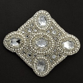 Acrylic Rinestones Pearl Beaded Applique Patch by PC, FF-FF6479