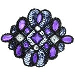 Acrylic Rinestones Sequins Beaded Applique Patch by PC, FF-J06-143