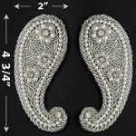 Rhinestones, Pearls & Beaded Applique Patch by PAIR (2 PCS), FF-SF07