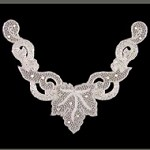 Rhinestone Beaded Neckline Applique Patch by PC, FF-VCO1-023