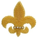 Fleur-De-Lis Rinestones Beaded Applique Patch by PC, TR-11234