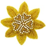 Floral Rhinestones Beaded Applique Patch by PC, TR-10226