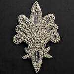 Fleur-De-Lis Crest Rinestones Beaded Applique Patch by PC, TR-10527