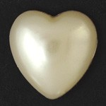 26mm Heart Pearl Plastic Flatback Beads by 6pcs,  PRL-2009-HRTFB-26