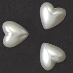 11mm Heart Pearl Plastic Flatback Beads by 24pcs,  PRL-2009-HRTFB-11