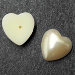16mm Heart Pearl Plastic Flatback Beads by 12pcs,  PRL-2009-HRTFB16
