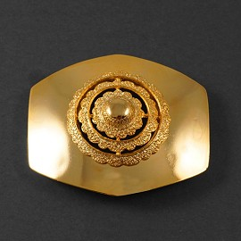 Octagon GOLD Metal Belt Buckle, Vintage Fashion Jewelry by PC, LT-5480