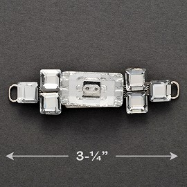 Rhinestone Buckle Accessory, Rhinestone Connector, Shoe Buckle, 1pc, TR-10203