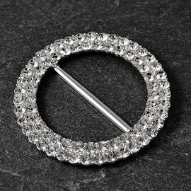 Round Rhinestone Metal Buckle by PC, TR-11187