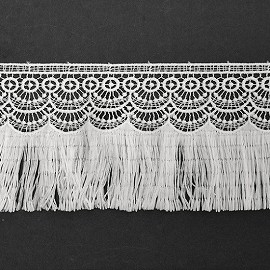 "4"" Embroidered Lace Fringe by Yard, STEP-3375"