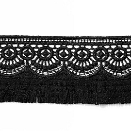 "2"" Embroidered Lace Fringe Trim by Yard, TR-11654"