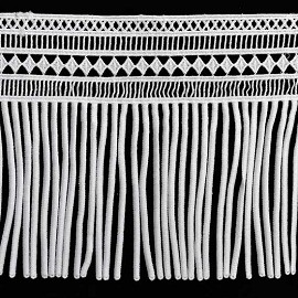 "7-1/2"" Embroidered Lace Fringe Trim by Yard, TR-11656"