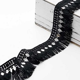 "2"" Embroidered Lace Fringe Trim by Yard, TR-11653"