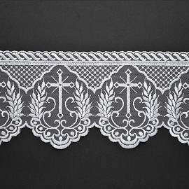 Embroidered tulle Cross Church lace Trim by YD, STEP-3520