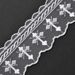 Embroidered tulle lace Cross Church trim by YD, STEP-3521