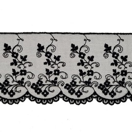 3-1/4 Flower Embroidered tulle lace Trim by Yard, STEP-3801