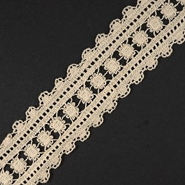 "2-1/8"" Vintage Embroidery Lace Trim by yard, TR-11430"