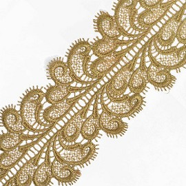 "3-1/4"" Gold Metallic Eyelash Lace Trim by Yard, TR-11273"