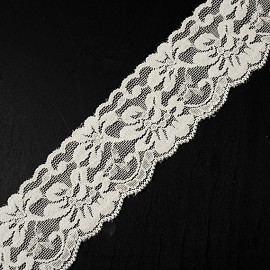 "2"" Floral Raschel Stretch Lace Trim by Yard, TR-11182"