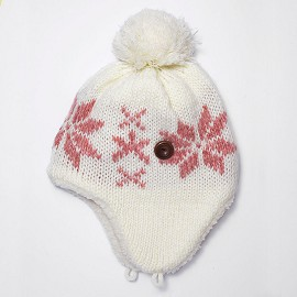 Winter Knit Warm Fleece Lined Pom Beanie Hat with Ear Flaps by pc, EJ-1002