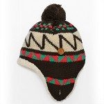 Winter Knit Warm Fleece Lined Pom Beanie Hat with Ear Flaps by pc, EJ-1003