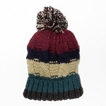 Rainbow Winter Knit Pompom Beanie Hat by pc, EJ-1006
