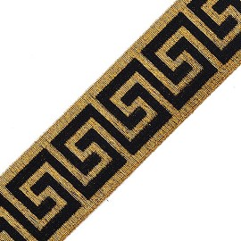 "eJoyce 2"" (50mm) Greek Key Stretch Elastic Band Trim by 1-Yard, TR-11348"