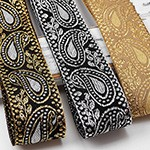 1-5/8 (40mm) Metallic Jacquard Ribbon Trim by yard, STEP-4879