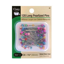 120 Long Pearlized Pins Size 24 by box (120 pins), DRI-64